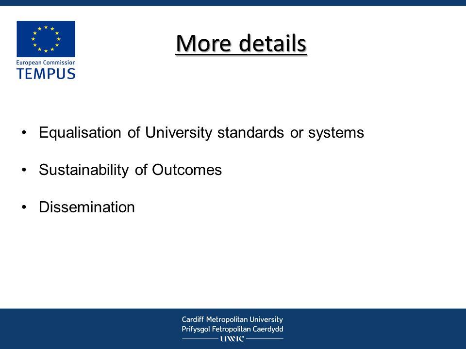 More details Equalisation of University standards or systems
