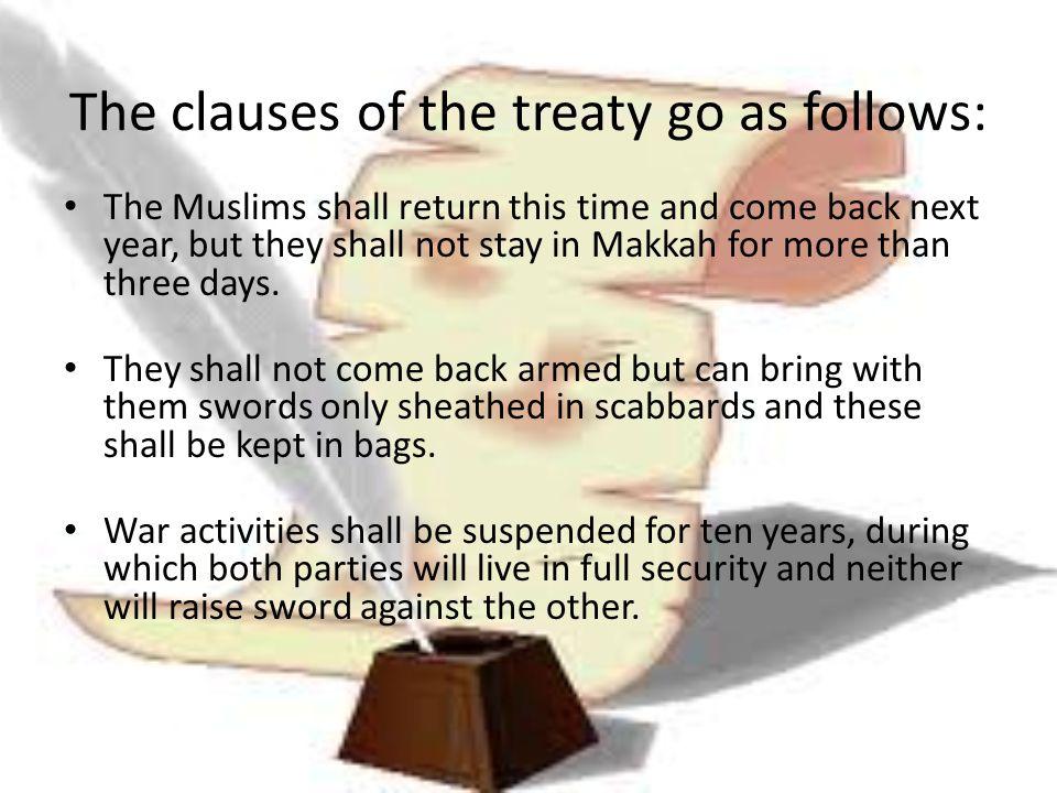 The clauses of the treaty go as follows: