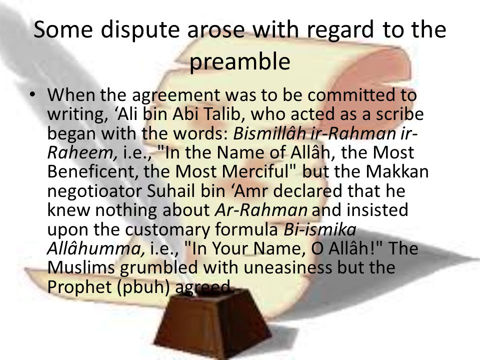 Some dispute arose with regard to the preamble