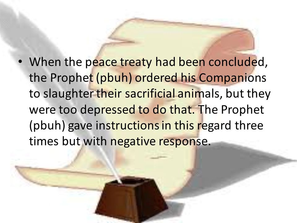 When the peace treaty had been concluded, the Prophet (pbuh) ordered his Companions to slaughter their sacrificial animals, but they were too depressed to do that.