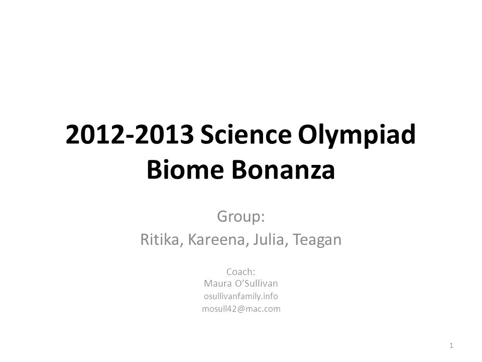 2012-2013 Science Olympiad Biome Bonanza