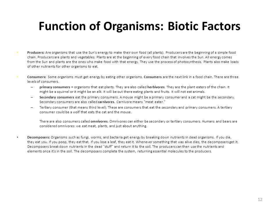 Function of Organisms: Biotic Factors