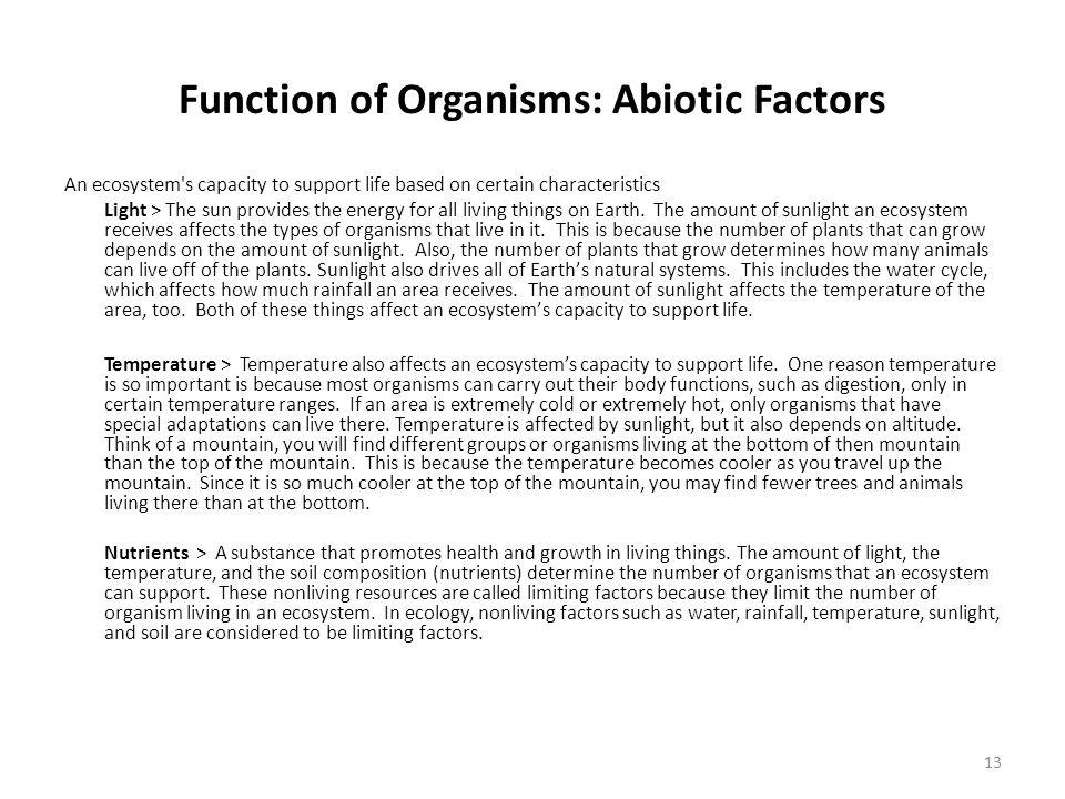 Function of Organisms: Abiotic Factors