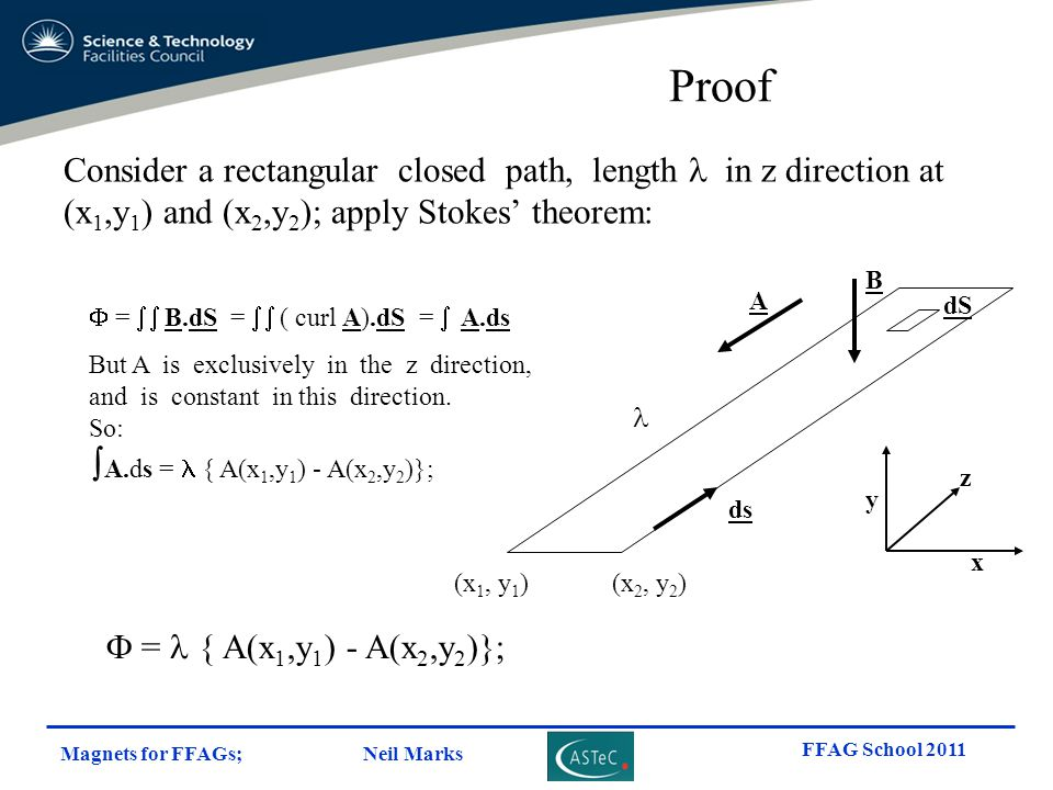 Proof Consider a rectangular closed path, length l in z direction at (x1,y1) and (x2,y2); apply Stokes' theorem:
