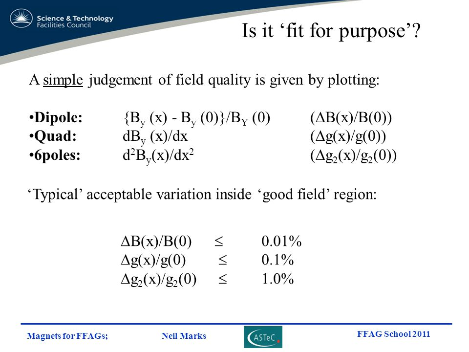 Is it 'fit for purpose' A simple judgement of field quality is given by plotting: Dipole: {By (x) - By (0)}/BY (0) (DB(x)/B(0))