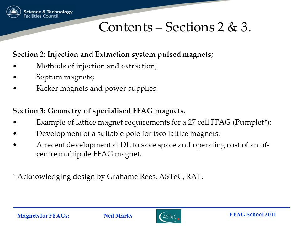Contents – Sections 2 & 3. Section 2: Injection and Extraction system pulsed magnets; Methods of injection and extraction;