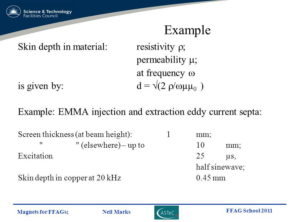 Example Skin depth in material: resistivity r; permeability m;