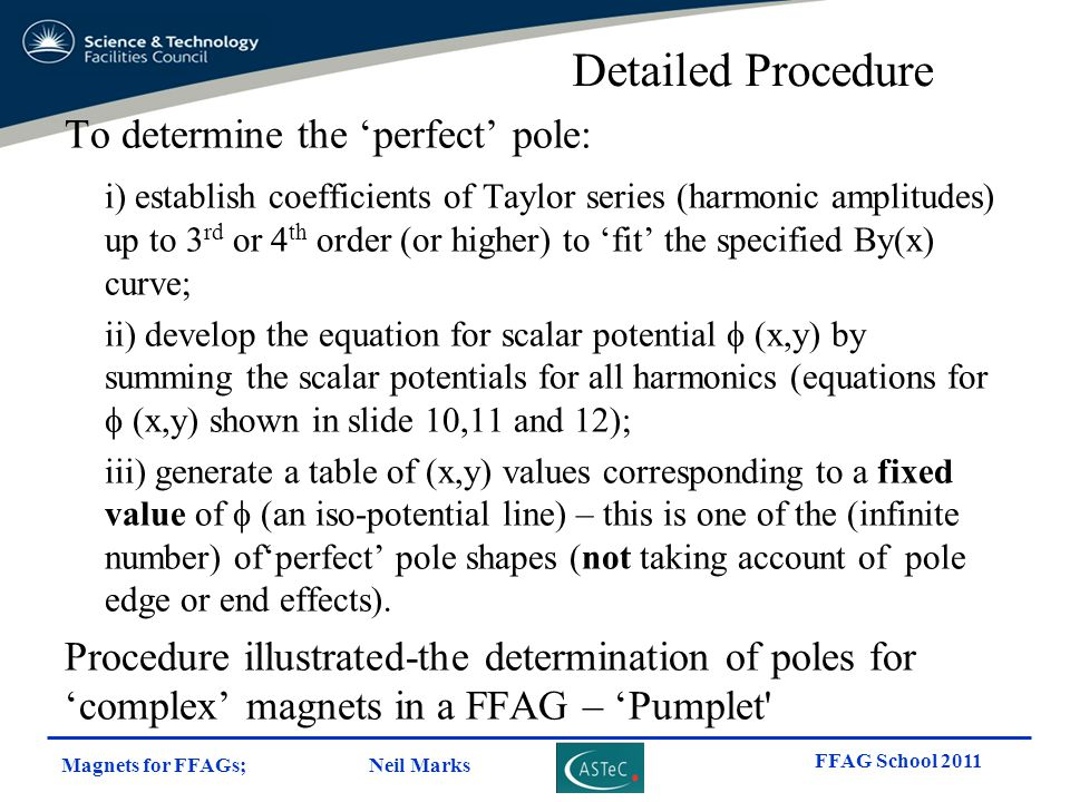 Detailed Procedure To determine the 'perfect' pole: