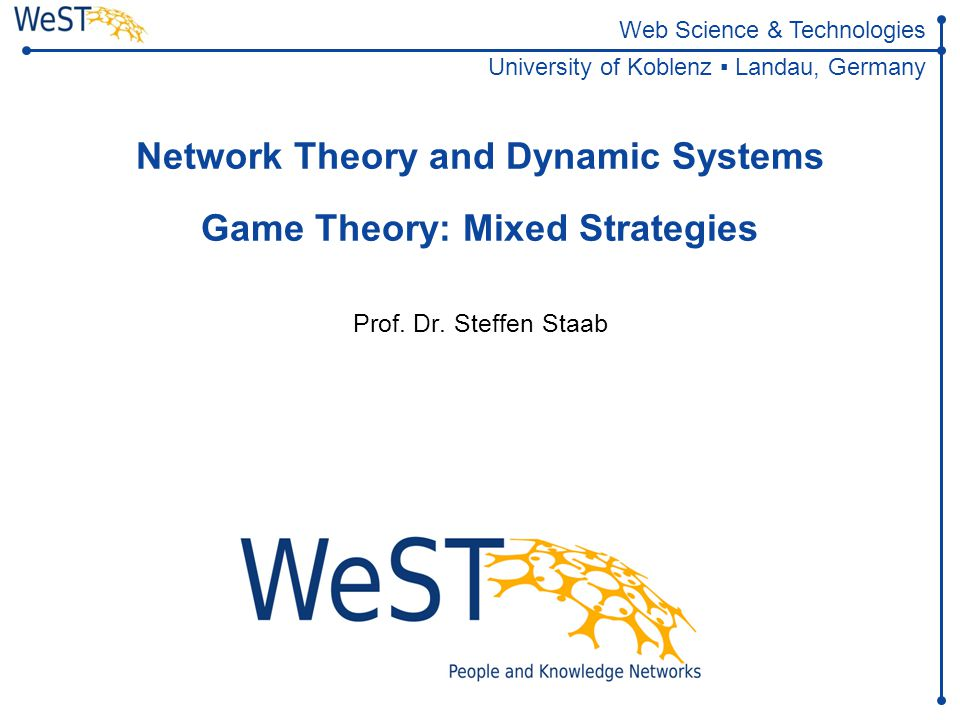 Network Theory and Dynamic Systems Game Theory: Mixed Strategies