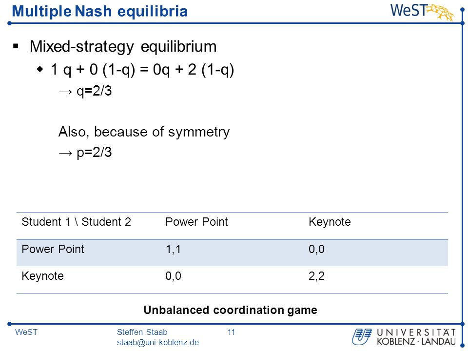 Multiple Nash equilibria