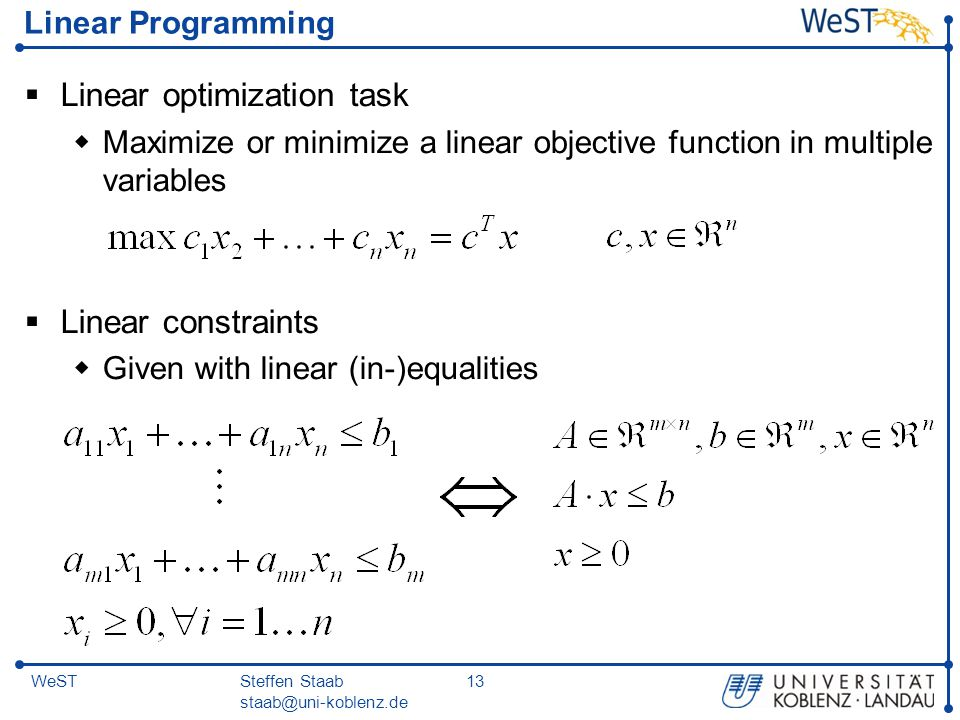 Linear optimization task