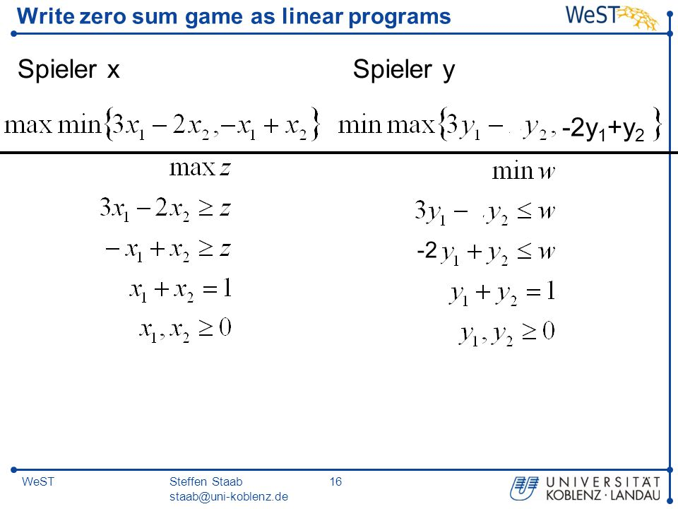 Write zero sum game as linear programs