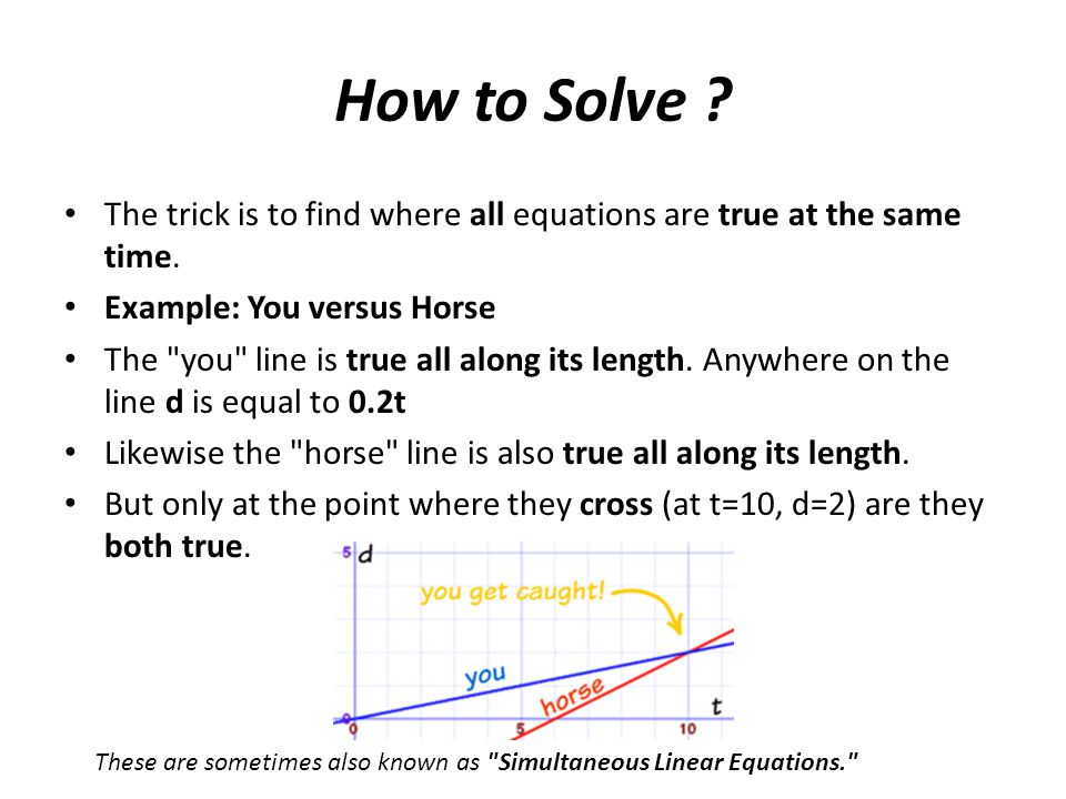 How to Solve The trick is to find where all equations are true at the same time. Example: You versus Horse.