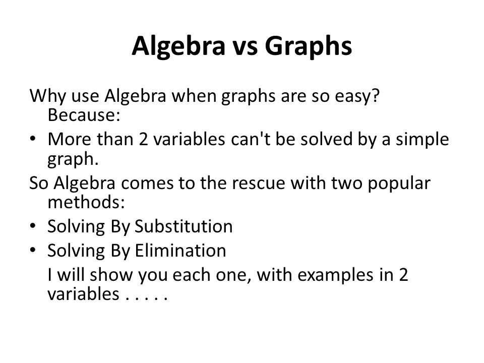 Algebra vs Graphs Why use Algebra when graphs are so easy Because: