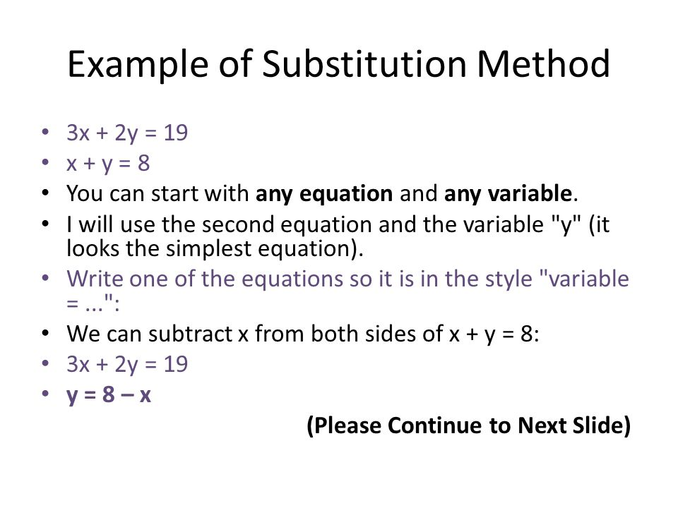 Example of Substitution Method