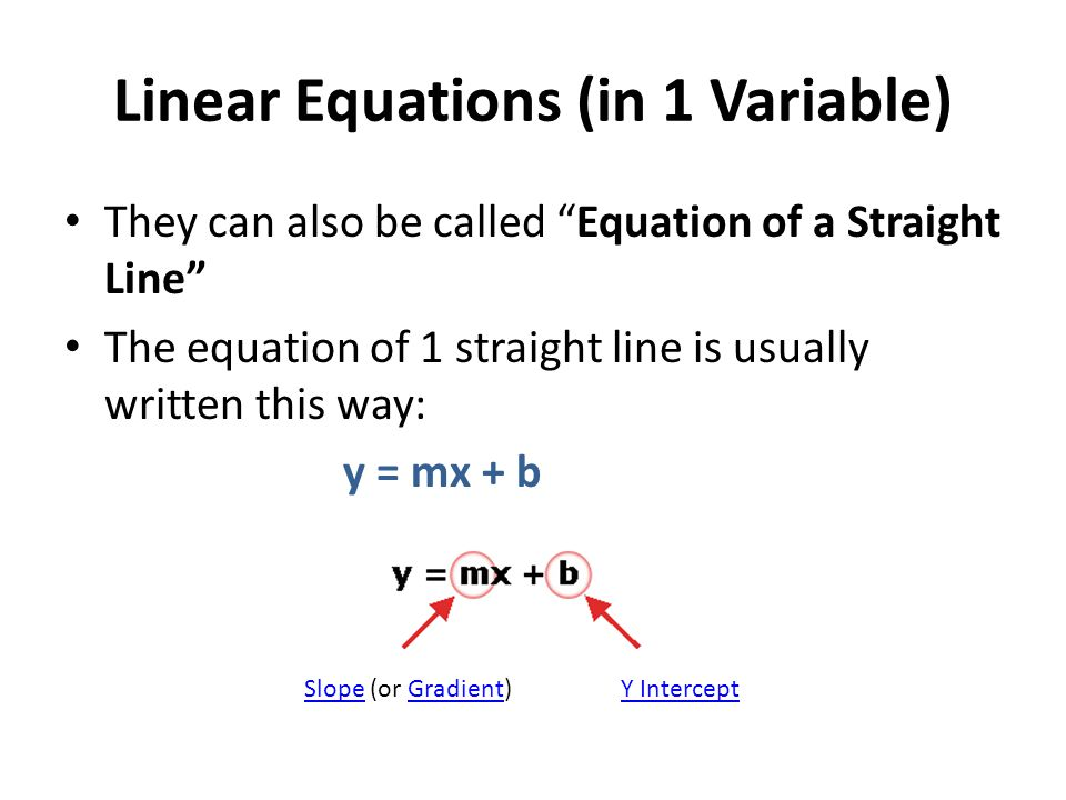 Linear Equations (in 1 Variable)