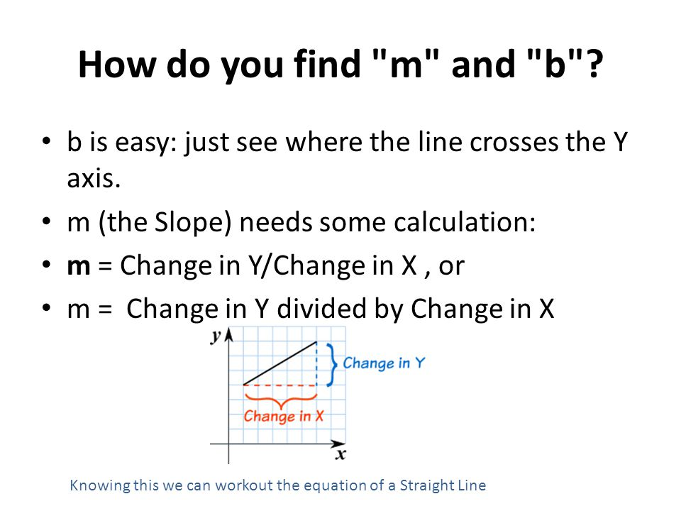 How do you find m and b b is easy: just see where the line crosses the Y axis. m (the Slope) needs some calculation: