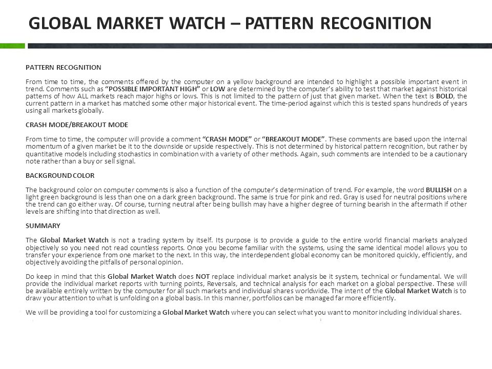 GLOBAL MARKET WATCH – PATTERN RECOGNITION