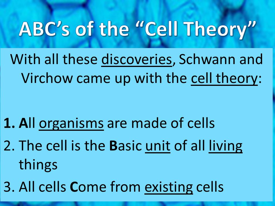 ABC's of the Cell Theory