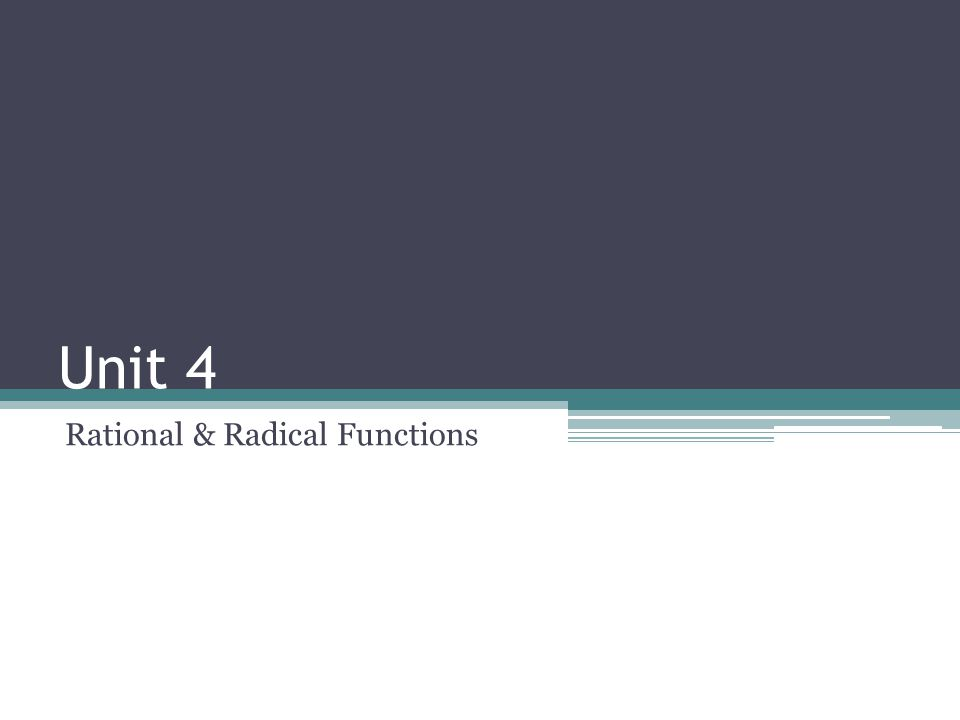 Rational & Radical Functions