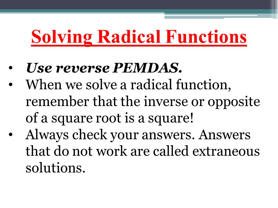 Solving Radical Functions