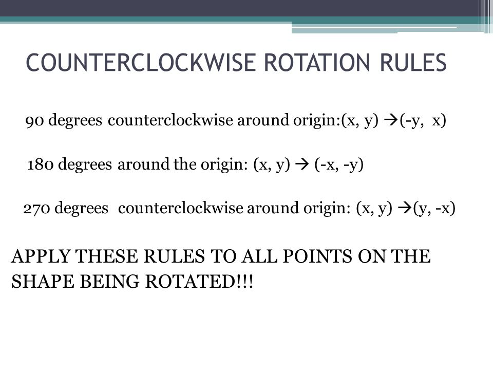 COUNTERCLOCKWISE ROTATION RULES