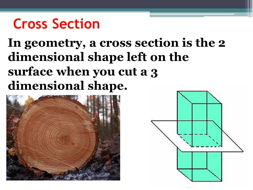 Cross Section In geometry, a cross section is the 2 dimensional shape left on the surface when you cut a 3 dimensional shape.