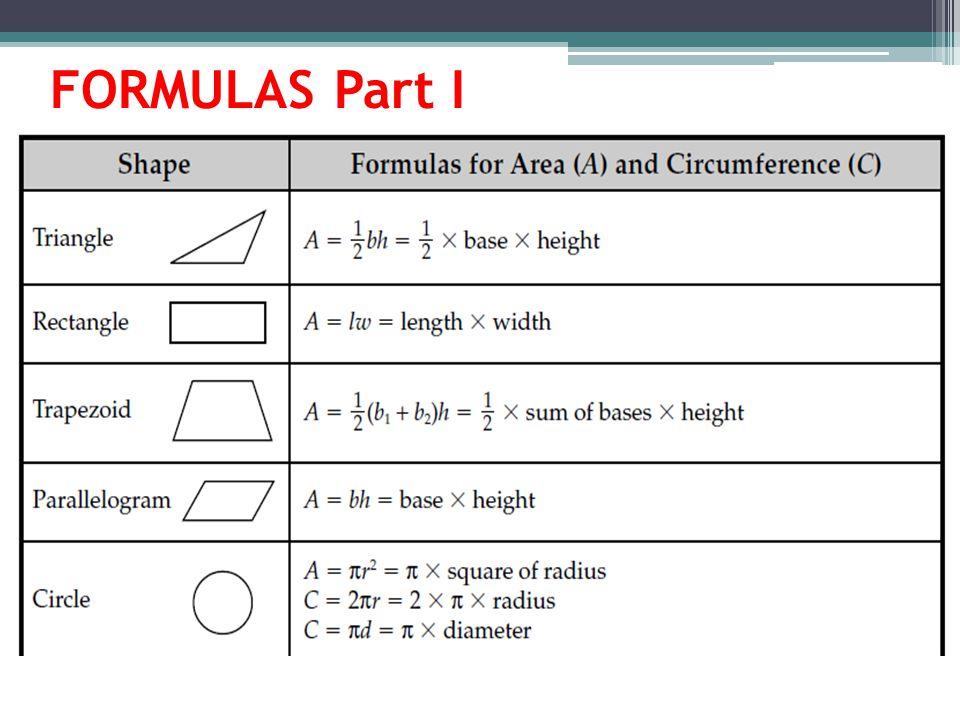 FORMULAS Part I