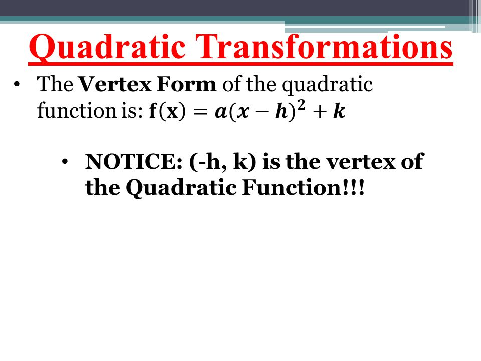 Quadratic Transformations