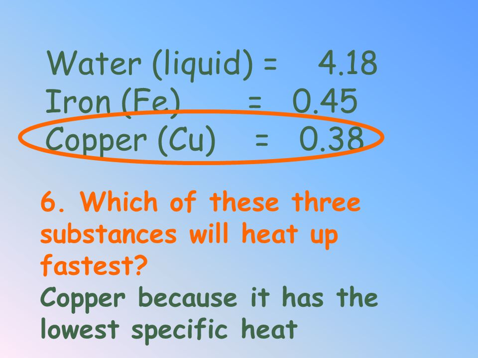 Water (liquid) = 4.18 Iron (Fe) = 0.45 Copper (Cu) = 0.38