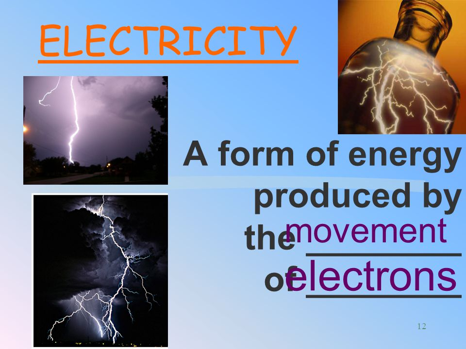 A form of energy produced by the ________ of ________