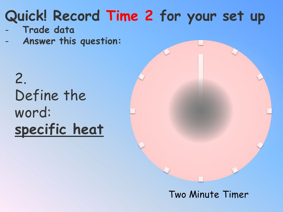 Quick! Record Time 2 for your set up