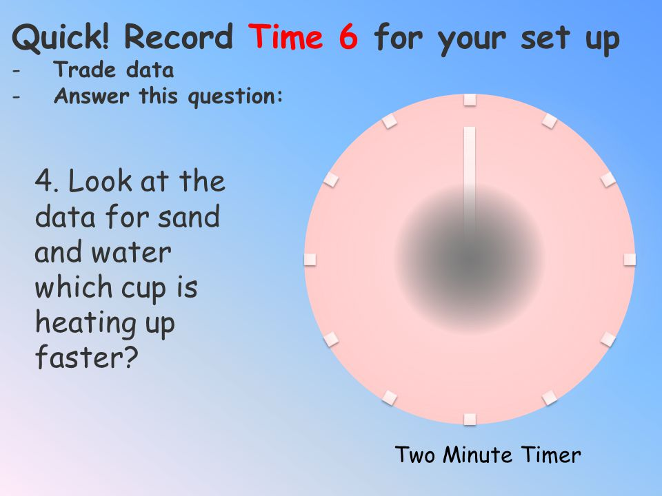 Quick! Record Time 6 for your set up