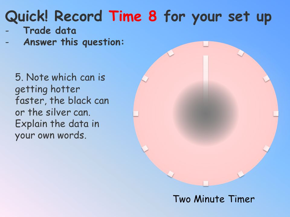 Quick! Record Time 8 for your set up