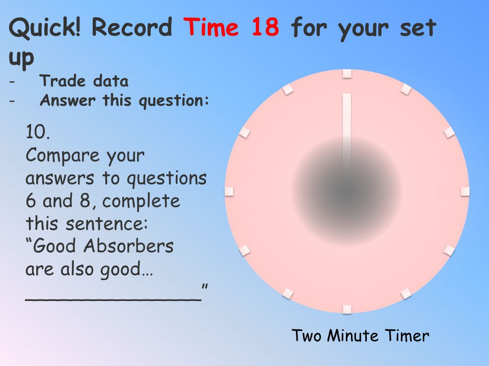 Quick! Record Time 18 for your set up