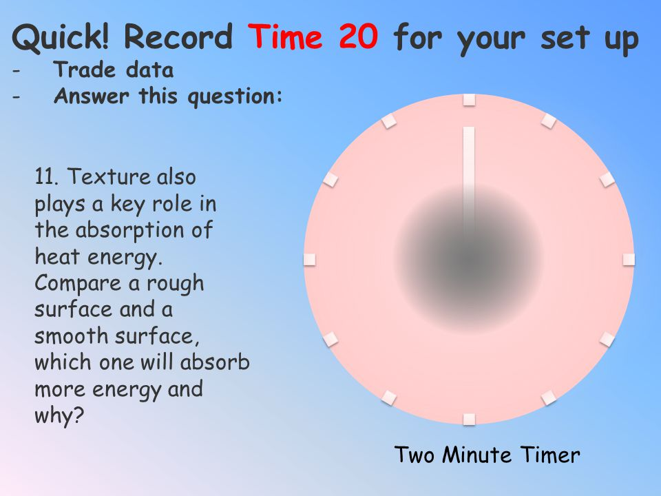 Quick! Record Time 20 for your set up