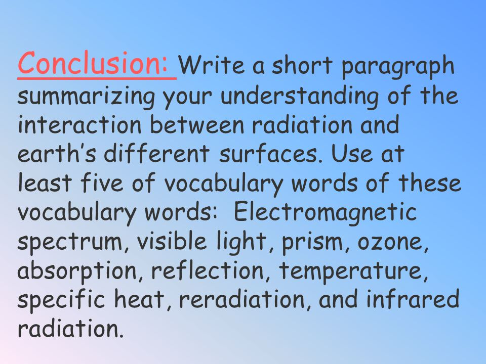 Conclusion: Write a short paragraph summarizing your understanding of the interaction between radiation and earth's different surfaces.