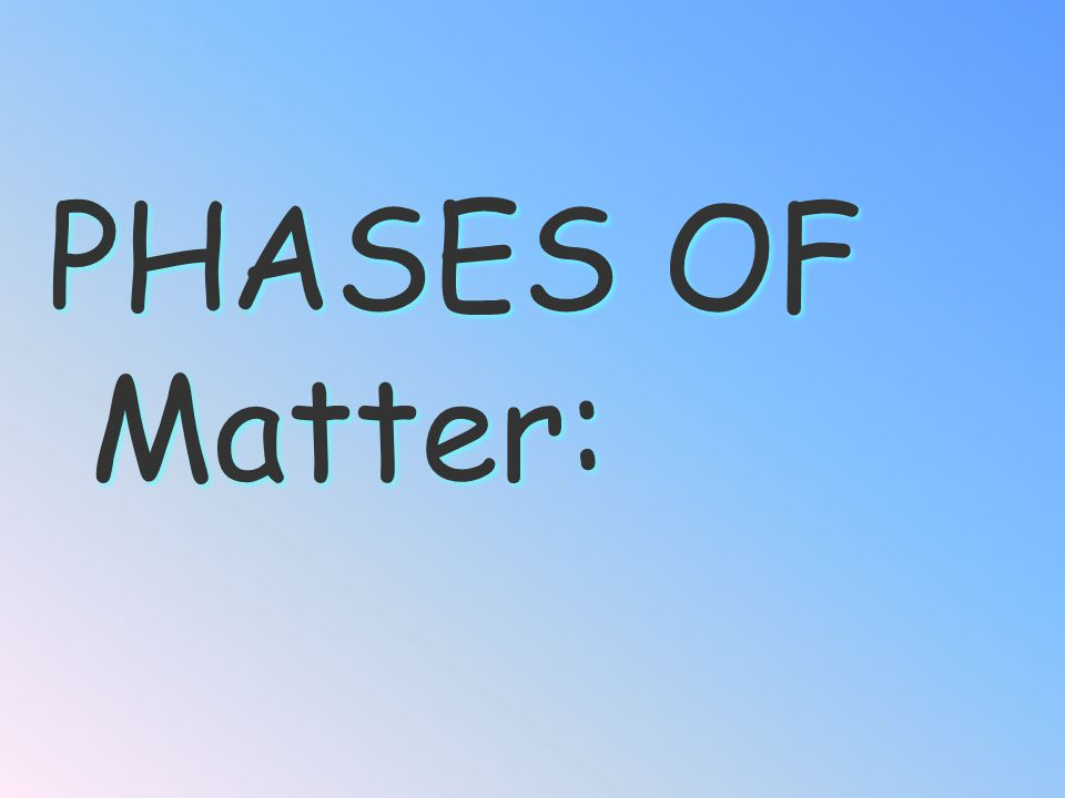 PHASES OF Matter: