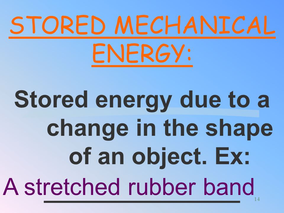 Stored energy due to a change in the shape of an object. Ex:
