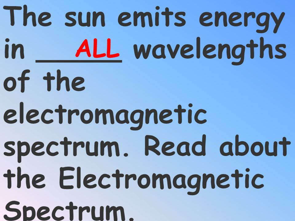 ALL The sun emits energy in _____ wavelengths of the electromagnetic spectrum.