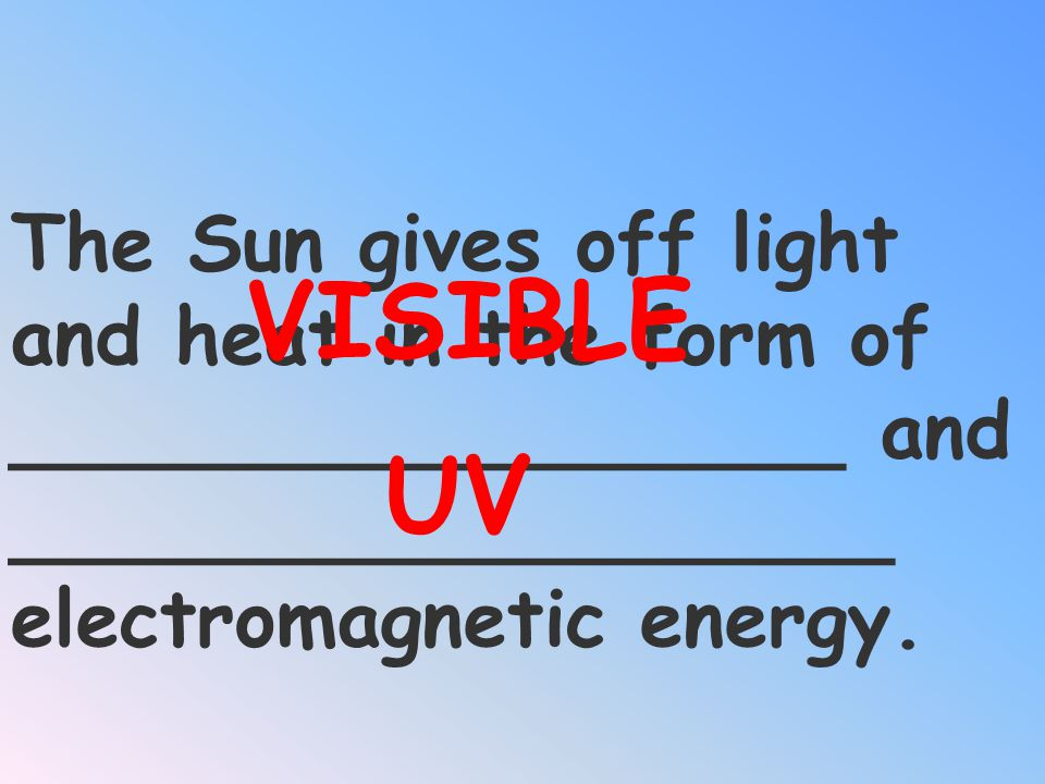 VISIBLE The Sun gives off light and heat in the form of _________________ and __________________ electromagnetic energy.