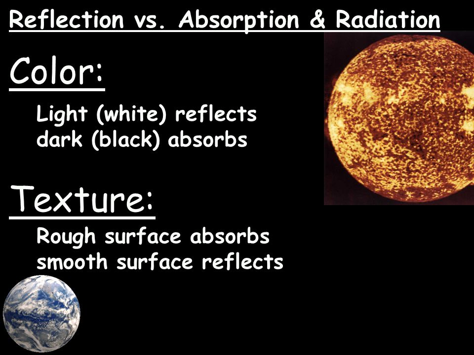 Color: Texture: Reflection vs. Absorption & Radiation
