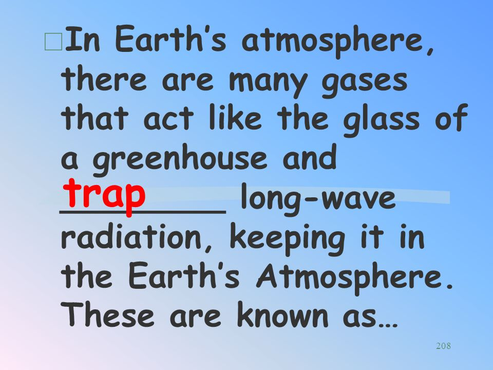 In Earth's atmosphere, there are many gases that act like the glass of a greenhouse and ________ long-wave radiation, keeping it in the Earth's Atmosphere. These are known as…