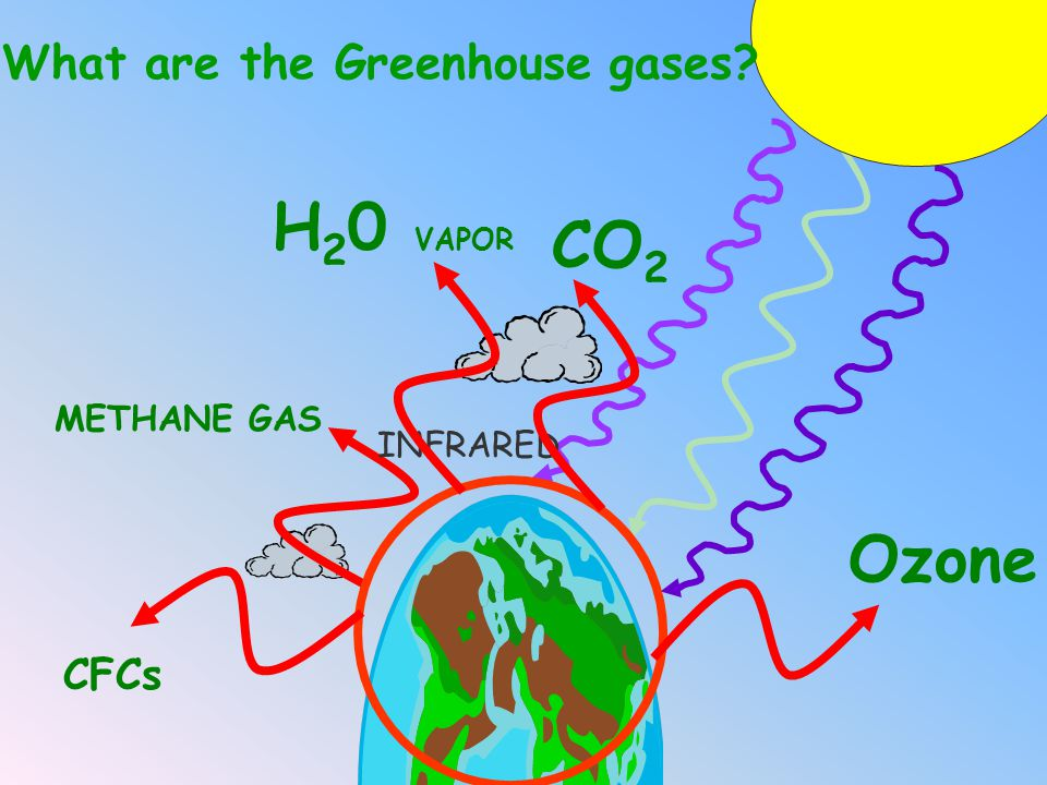 H20 VAPOR CO2 Ozone CFCs What are the Greenhouse gases METHANE GAS
