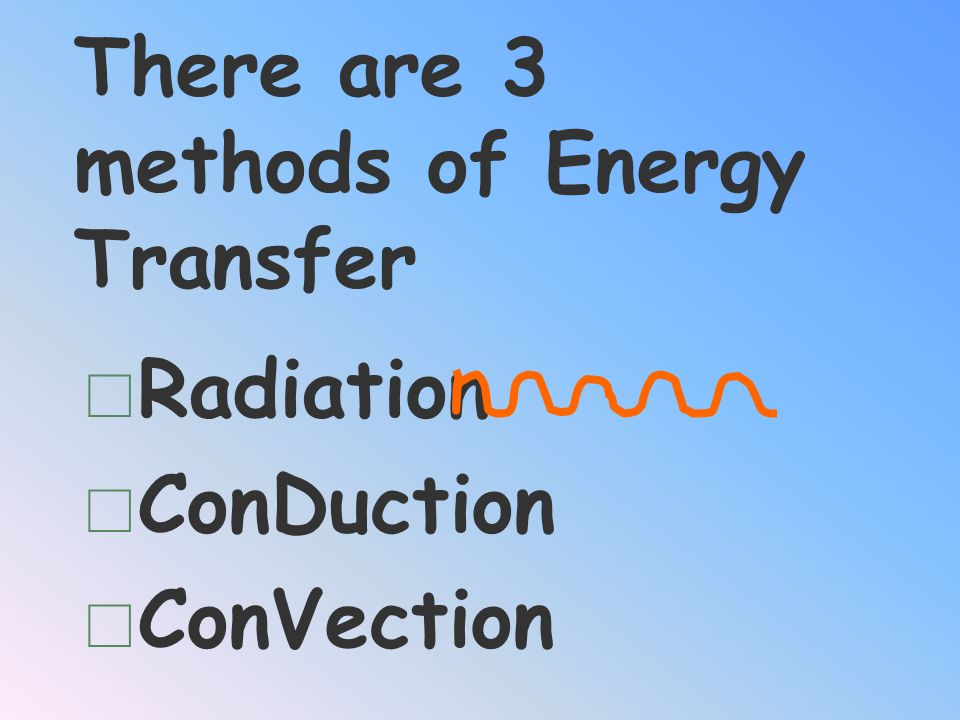 There are 3 methods of Energy Transfer