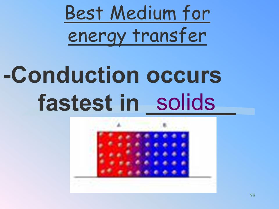 -Conduction occurs fastest in _______