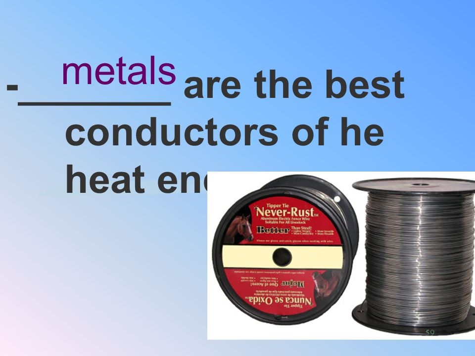 -_______ are the best conductors of he heat energy.