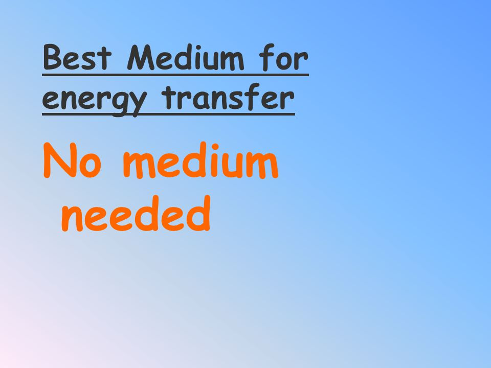 Best Medium for energy transfer