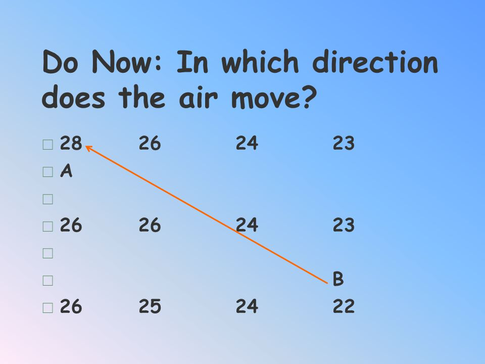 Do Now: In which direction does the air move