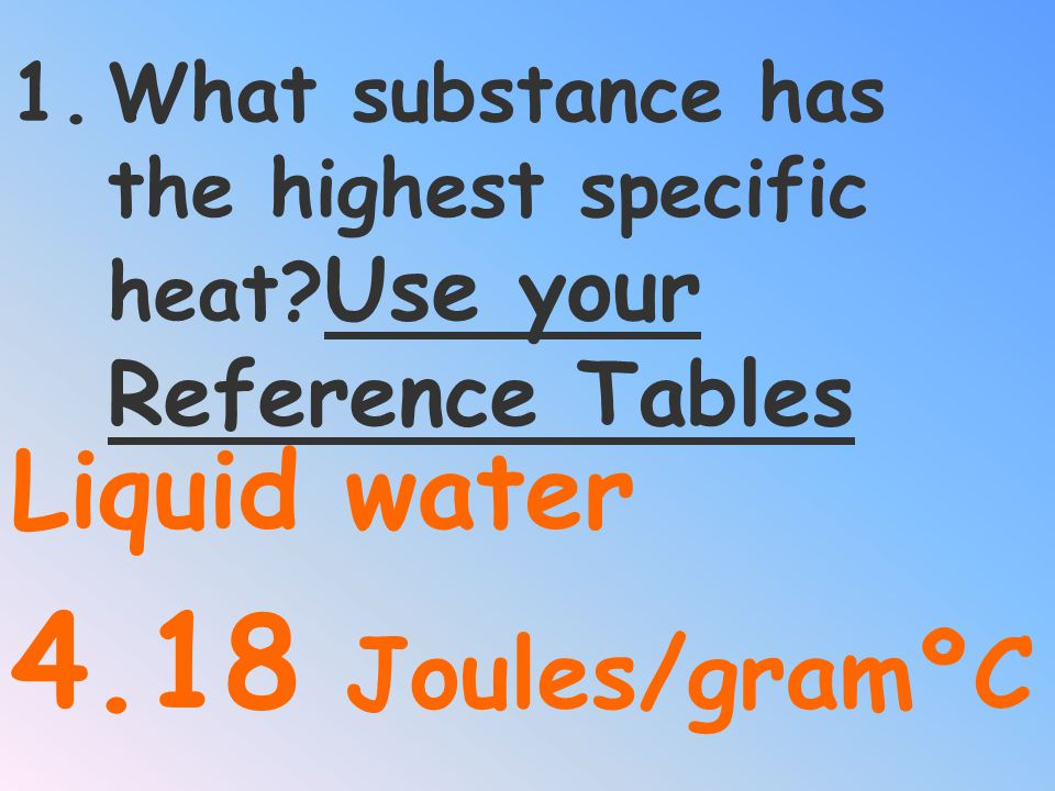 What substance has the highest specific heat Use your Reference Tables